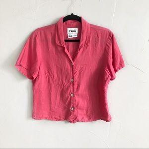 FLAX Pink Linen Short Sleeve Button Down Top D7